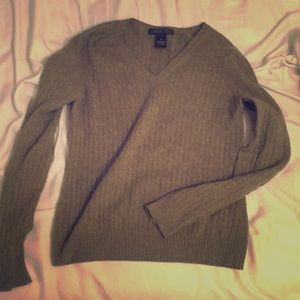 Marconi knitted green v neck sweater cashmere